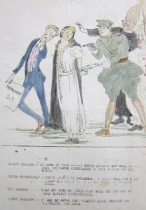 Anti-Treaty cartoon, 1921, depicts Ireland being coerced by Michael Collins, representing the Free State Army, along with the Catholic Church, in the service of British Imperialism
