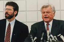 Gerry Adams and Sen. Edward Kennedy, Irish-American millionaire politician of the US Democrat Party