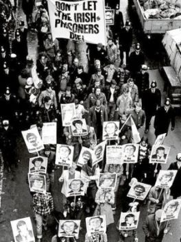 "The Irish diaspora in Britain and some British Left took to the streets to support the Hunger Strikers.  In doing so they defied the campaign of state terror with the jailing of a score of innocent Irish people on murder charges and the reign of the 1974 ""Prevention of Terrorism"" and a hostile media campaign."