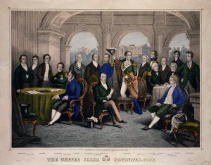 Notables of the United Irishmen, the first Republican movement in Ireland, mostly led by Presbyterians. After the defeat of its 1798 insurrection, the Presbyterian community came under the idealogical control of the Orange Order and British Loyalism, which is where it has remained to this day.
