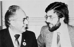 Ruairí Ó Brádaigh and Gerry Adams, solidarity conference London 1983. Adams ousted Ó Brádaigh in the Provos' leadership. Ó Brádaigh was twice chief of staff of the IRA between 1958 and 1962, president of Provisional Sinn Fein from 1970 to 1983 and of Republican Sinn Fein from 1987 to 2009,