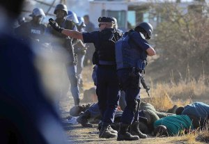 South African police of the ANC government executed 34 miners in one day for striking against Anglo-American Platinum mine at Marikana.  A further10 had been killed in previous days.