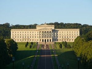 Stormont Building, seat of the British colonial government in Ireland since 1932 except during years of direct rule from Britain.  Sinn Fein have gone from revolutionary campaigning for its abolition and Britain getting out of Ireland to being part of the colonial government, the Northern Ireland Executive.