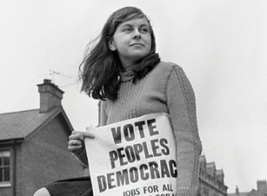 """Bernadette Devlin circa 1968 or 1969.  She was elected MP on a People's Democracy ticket in 1969 but later classified herself as an """"independent socialist""""."""