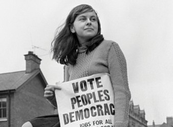 "Bernadette Devlin circa 1968 or 1969.  She was elected MP on a People's Democracy ticket in 1969 but later classified herself as an ""independent socialist""."