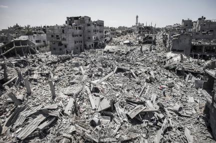 "Israeli ""military operations"" -- Shuja'iyya neighborhood of east Gaza City during a 12-hour ceasefire on July 26 2014."