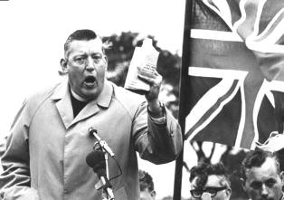 Ian Paisley speaking outdoors