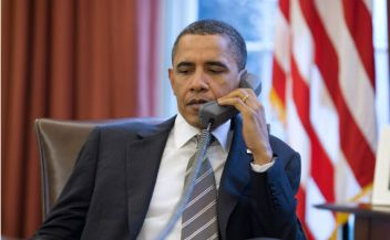 Pres Obama on Phone
