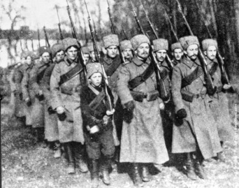 Cossack soldier volunteers WWI. Imperial Russia was an ally of Britain and France; the war was on of the causes of the Russian Socialist Revolution 1917. The following year, the war ended.