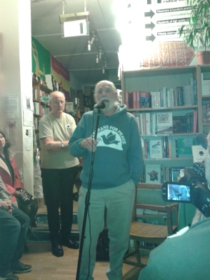 Jim singing at the launch of David Gee's book at Housemans Radical Bookshop.