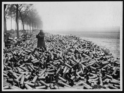 Millions of artillery shell casings, each designed to kill and mutilate, each produced at a profit to Capitalists.