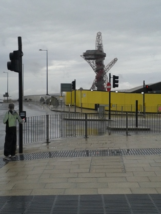 The observation tower/ sculpture by London Olympic Stadium, near Stratford, East London.