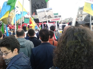 Another speaker at Kobane solidarity rally, London (idenity