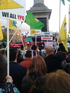 A speaker at the Kobane solidarity rally (