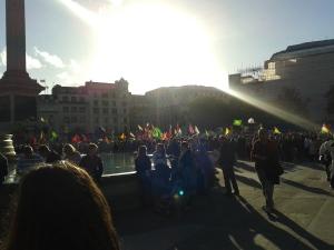 Sun effect Trafalgar Kobane rally