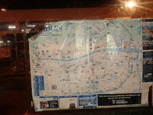 Tattered Dub tourist map bus shelter