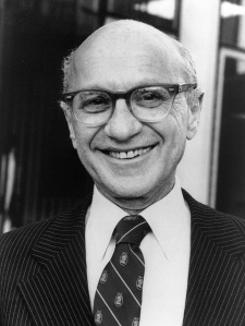 "Milton Friedman, Professor Emeritus at University of Chicago, credited with the creation of the ""Chicago School"" of neo-conservative economists which legitmized disaster capitalism"