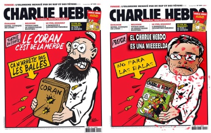 Charlie Hebdo cartoon referring to the attack on Egyptian protesters in which 1,000 were killed.