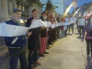 Concentración en el octubre 2014 presionando al Ayuntamiento de Dublín no acordar con el plan del especulador