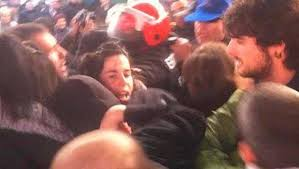 Jone Amezaga's face in the midst of the battle as supporters try to block the police arrest, 15 Dec 2014