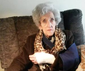 Julia Lanas, 94 years of age, struck and knocked to the ground by Basque police in raid to arrest a Basque activist in Gernika