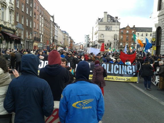 Start of the march in Dame Street after rally in Central Plaza