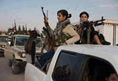 Kurdish women guerrilas against FSA, Syria
