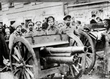 """A Russian Army barricade during the """"February Revolution"""" -- the soldiers refused the orders of their officers to shoot demonstrators."""