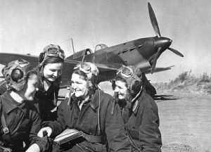 Soviet female combat pilots in WW2. The USSR was the only state to have female combat pilots.
