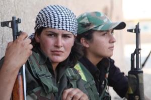 Two Kurdish Women Fighters kefiyah headscarf