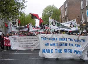 Anti-Capitalist Bloc in Dawson Street, Dublin, marching to join anti-austerity demonstration at Dáíl in 2010