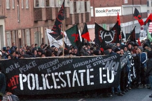 Black Bloc against the EU, possibly a section of the