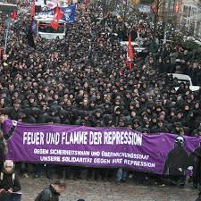 A Black Bloc against repression in Germany -- location and year uncertain