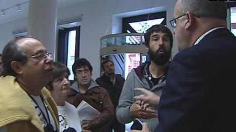 Parent and friends of Inigo Cabacas confront spokesperson of the Basque Nationalist Party after attempt to ban rubber bullets fails