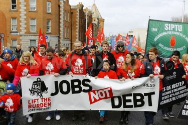 Reformist trade union slogan on anti-austerity march in 2010
