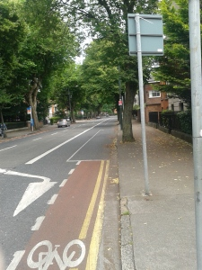 Northumberland Road looking southwards. The Irish insurgents first saw the British troops coming up this road.