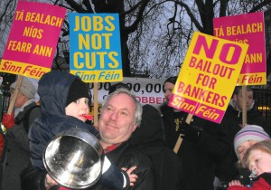 "Sinn Féin demonstration at the Dail in 2010 -- all totally reformist slogans apart from possibly the ""Don't Pay the Bankers"" slogan"