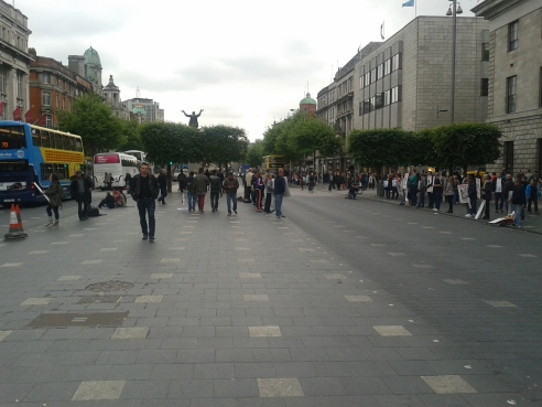 Three lines of protesters in front of GPO, Dublin's O'Connell Street  (view wesward), seeking freeing of Steven Bennet
