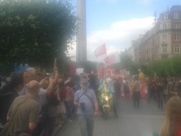 Bad photo of approach of anti-abortion march in O'Connell Street