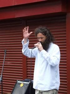 John Cummins, poetician, performing his Moore Street piece
