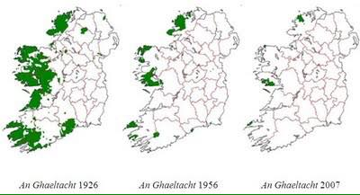 Maps showing the decline in the Irish-speaking areas, the Gaeltacht, during the life of the Irish state