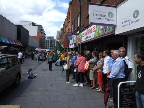 Part of the crowd lining up around the 1916 Terrace in Moore Street
