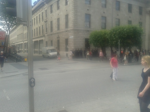 The Riot Squad were also there for the counter-demonstrators.  Some may be seen in this misty image of them at the Princes Street end of the GPO.