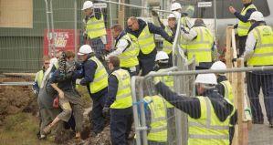 Shell security team manhandle a protester