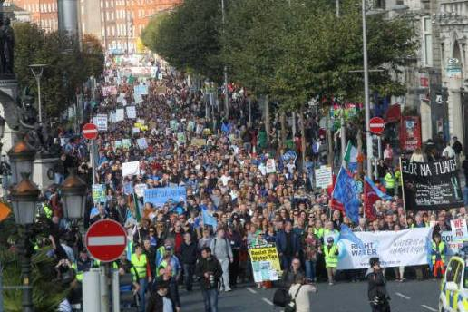 Marchers heading southward after leaving the Garden of Remembrance/ Parnell Square area (RTÉ tried to play down the figures to 30,000