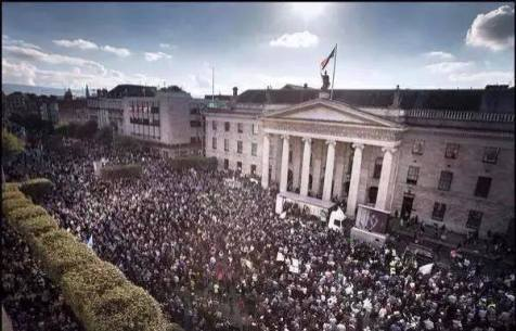 An aerial view down towards the rally after the march at GPO/ O'Connell St
