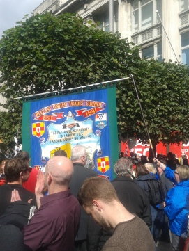 Belfast Trades Council banner on the demonstration -- they also had a speaker on the platform