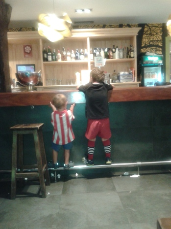 The upcoming generation, one wearing an Athletic Bilbao shirt