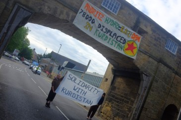 Solidarity picket outside the Andritz company plant in England