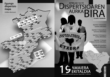 Map of the dispersal of Basque political prisoners across both states and Etxerat picket